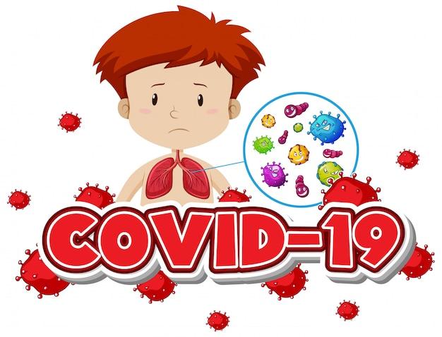 Plantilla de signo covid 19 con niño y pulmones malos