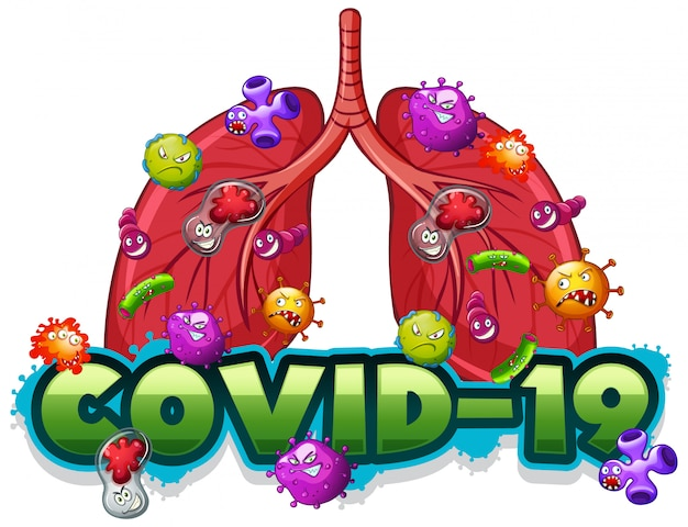 Plantilla de signo covid19 con pulmones humanos llenos de virus
