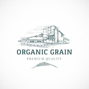 La plantilla de signo, símbolo o logotipo abstracto de elevador de grano orgánico.