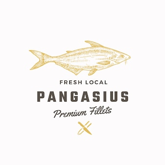 Plantilla de signo, símbolo o logotipo abstracto de pangasius