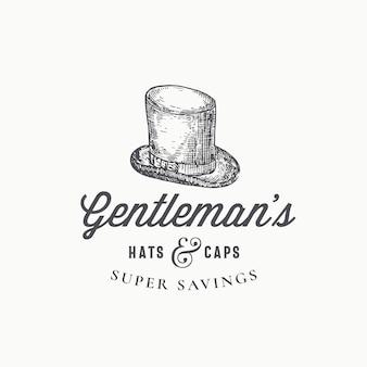 Plantilla de signo, símbolo o logotipo abstracto de sombrero de copa de caballeros.
