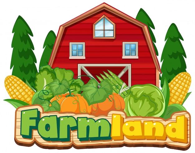 Plantilla de signo de tierras de cultivo con granero rojo y verduras