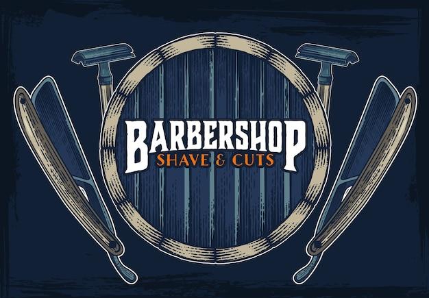 Plantilla de signo vintage barbería hipster