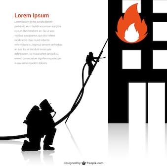 Plantilla con silueta de bombero