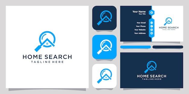Plantilla de símbolo de icono de diseño de logotipo de lupa y casa y diseño de tarjeta de visita