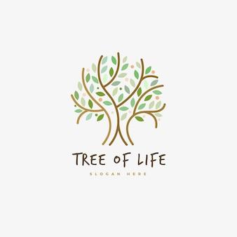 Plantilla de símbolo de logotipo de árbol de vida de contorno