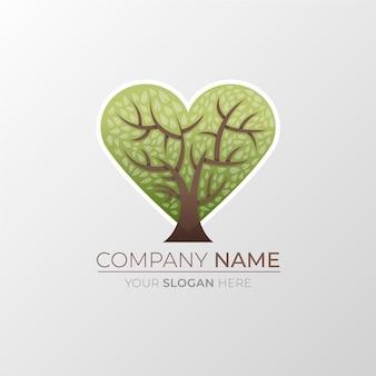 Plantilla de símbolo de logotipo de árbol de vida en forma de corazón