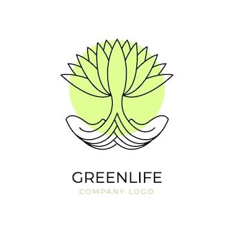 Plantilla de símbolo de logotipo de árbol de vida verde