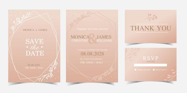 Plantilla simple geométrica moderna moderna de la tarjeta de la invitación de la boda con diseño floral del vector. rsvp tarjetas de novia.