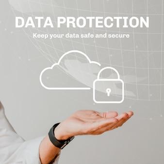 Plantilla de sistema en la nube con protección de datos para publicación en redes sociales
