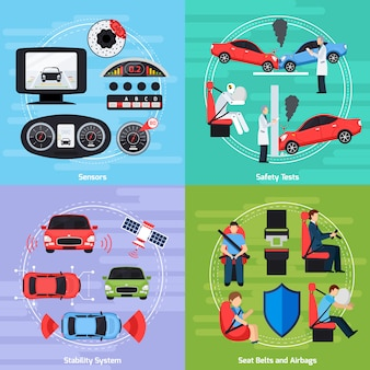 Plantilla de sistemas de seguridad del coche