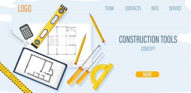 Plantilla de sitio de construcción con herramientas de arquitecto y plano