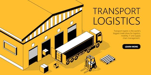 Plantilla de sitio isométrico 3d - logística de transporte