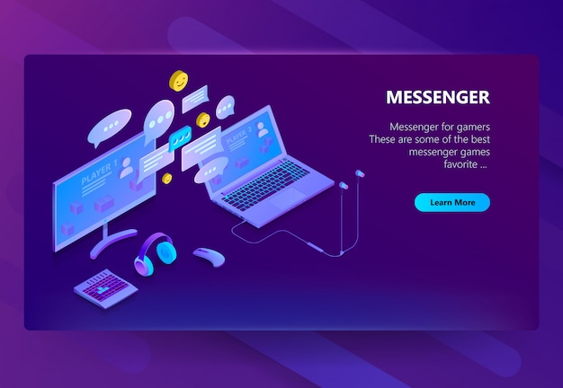 Plantilla de sitio para messenger, chat en línea