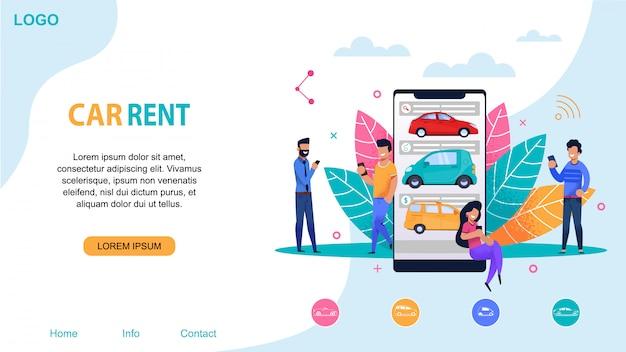 Plantilla de sitio web de alquiler de coches. estación de viaje compartido.