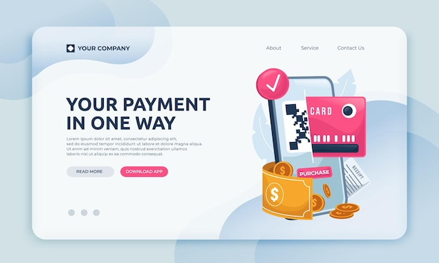 Plantilla de sitio web de aplicación de pago de página de destino
