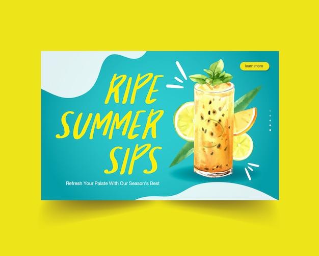 Plantilla de sitio web de bebidas de verano