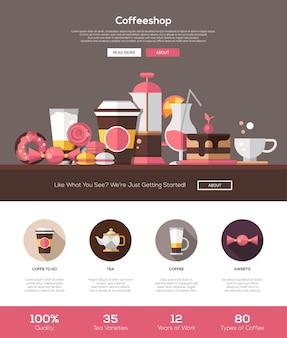 Plantilla de sitio web de cafetería, panadería y cafetería