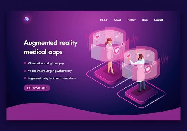 Plantilla de sitio web. concepto médico isométrico del trabajo de los médicos concepto de realidad aumentada. vr y ar se utilizan en cirugía. fácil de editar y personalizar