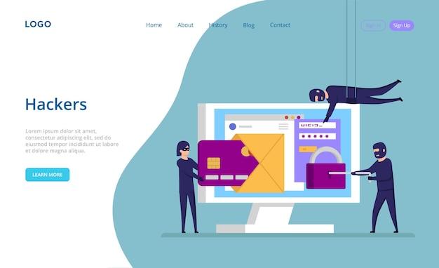 Plantilla de sitio web con el concepto de piratas informáticos