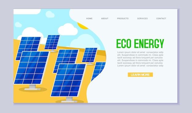 Plantilla de sitio web de consumo de energía de energía renovable ecología