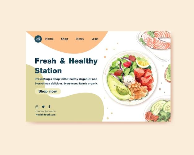 Plantilla de sitio web con diseño de alimentos saludables y orgánicos.