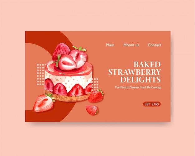 Plantilla de sitio web con diseño de horneado de fresa para internet, comunidad en línea y publicidad ilustración acuarela