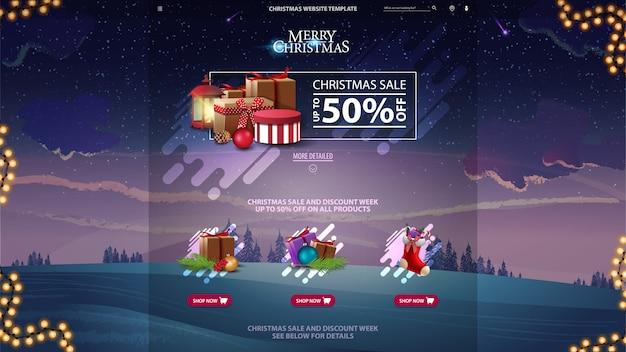 Plantilla de sitio web de diseño de venta de navidad con bosque de invierno en el fondo violeta