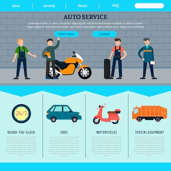 Plantilla de sitio web flat auto service