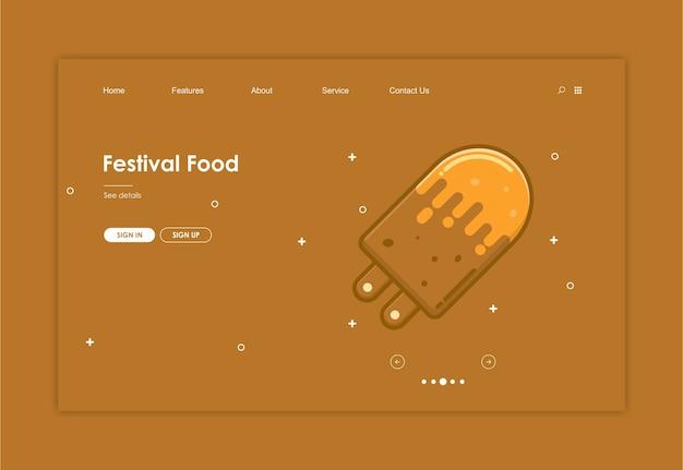 Plantilla de sitio web con fondo de alimentos