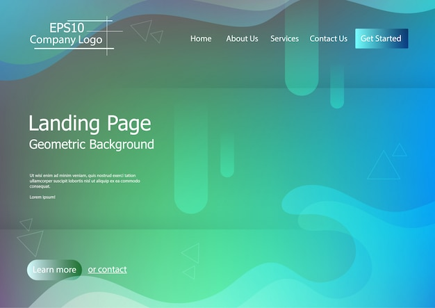 Plantilla de sitio web con fondo colorido forma geométrica