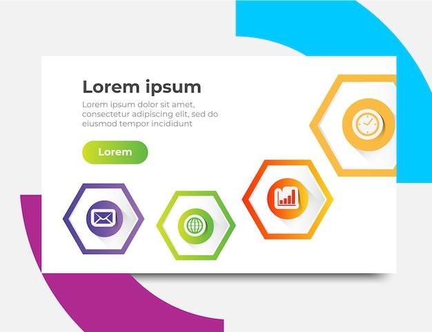 Plantilla de sitio web de infografía diseños de conceptos, ilustración vectorial