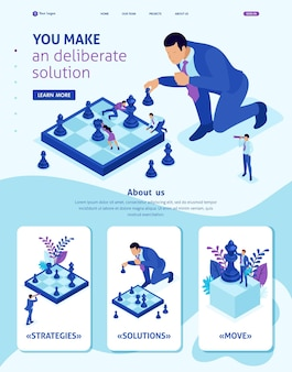 Plantilla de sitio web isométrica la página de destino de las grandes empresas toma una decisión informada, un juego de ajedrez, una estrategia de crecimiento. 3d adaptable.