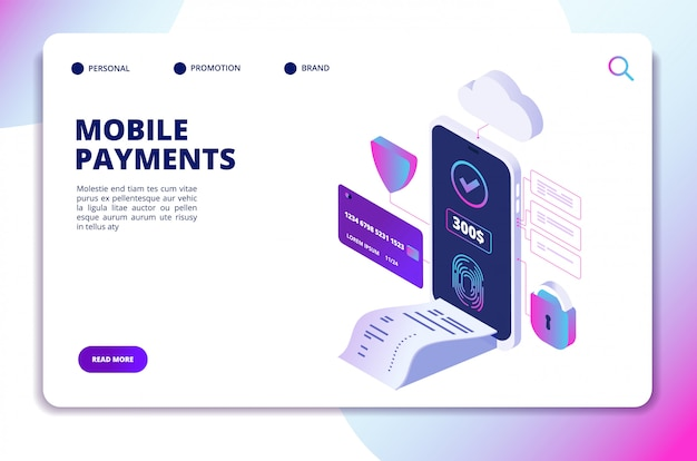 Plantilla de sitio web isométrica de pagos móviles