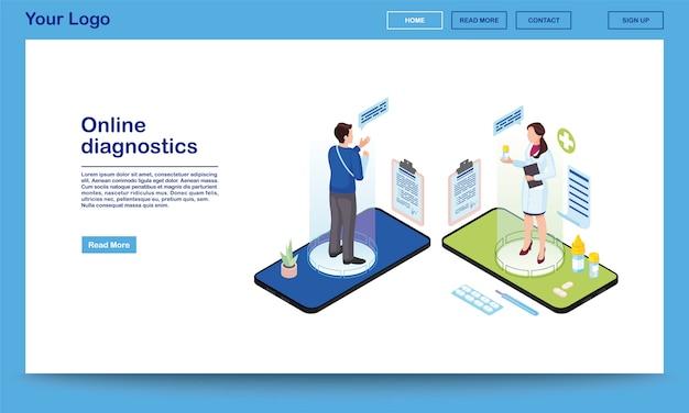Plantilla de sitio web isométrica de servicio de diagnóstico en línea. traumatólogo que prescribe medicamentos, analgésicos para pacientes con fractura de brazo. doctor 3d, hologramas de cliente en la pantalla del teléfono inteligente. sistema de salud electrónica, página de inicio