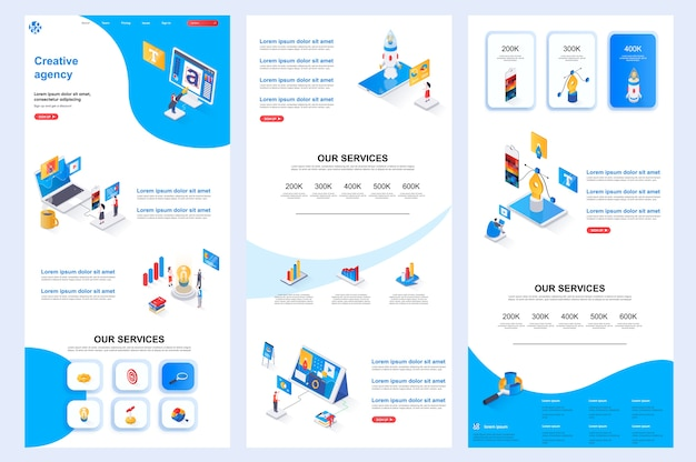 Plantilla de sitio web isométrico de agencia creativa, contenido medio y pie de página de destino