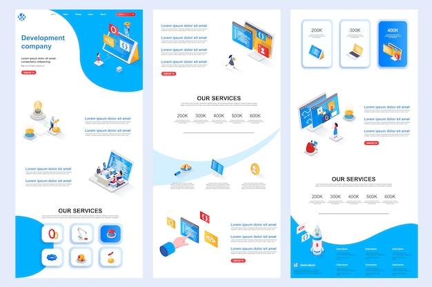 Plantilla de sitio web isométrico de la empresa de desarrollo, página de destino, contenido intermedio y pie de página