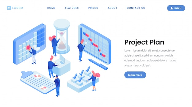 Plantilla de sitio web isométrico de planificación de proyectos