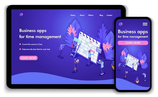 Plantilla de sitio web de negocios brillante. concepto isométrico del trabajo de las personas en aplicaciones de negocios para la gestión del tiempo. fácil de editar y personalizar, receptivo
