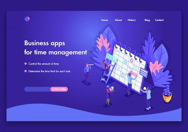 Plantilla de sitio web de negocios brillante. concepto isométrico del trabajo de las personas en aplicaciones de negocios para la gestión del tiempo. fácil de editar y personalizar