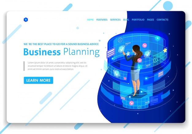 Plantilla de sitio web de negocios. concepto isométrico empresarios trabajan, realidad aumentada, gestión del tiempo, planificación empresarial. fácil de editar y personalizar. aislado