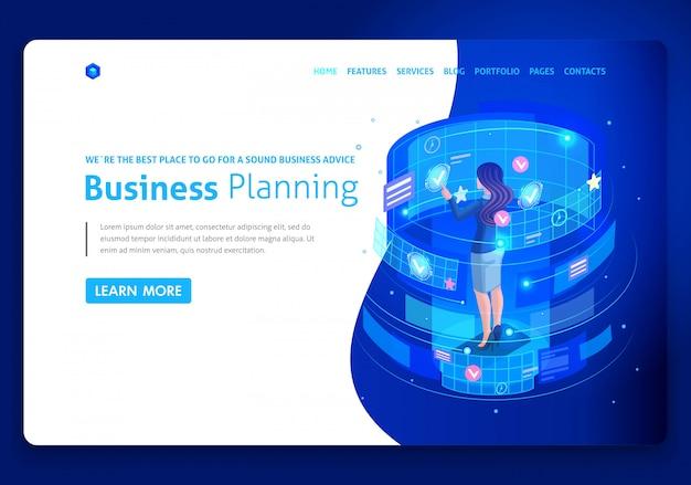 Plantilla de sitio web de negocios. concepto isométrico empresarios trabajan, realidad aumentada, gestión del tiempo, planificación empresarial. fácil de editar y personalizar