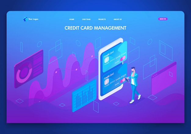 Plantilla de sitio web de negocios. concepto isométrico gestión de tarjetas de crédito, banco en línea, gestión de cuentas. fácil de editar y personalizar