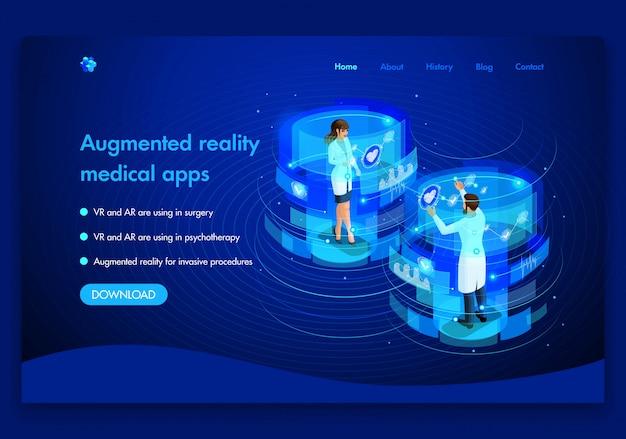 Plantilla de sitio web de negocios. concepto médico isométrico del trabajo de los médicos concepto de realidad aumentada. vr y ar se utilizan en cirugía. fácil de editar y personalizar