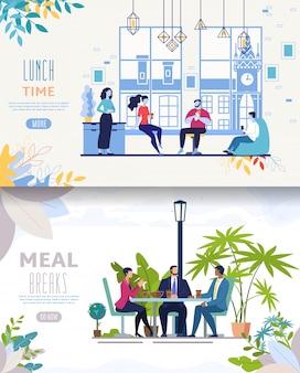 Plantilla de sitio web o página de destino. empresarios almorzando