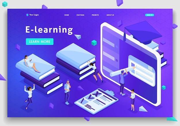 Plantilla de sitio web página de destino biblioteca de conceptos isométricos, e-learning, educación, biblioteca multimedia o archivo web. fácil de editar y personalizar.