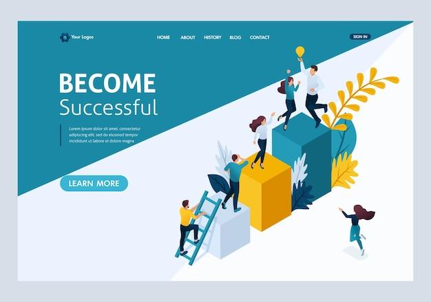 Plantilla de sitio web página de destino concepto isométrico de jóvenes emprendedores, puesta en marcha de proyectos, negocios exitosos, escalera al éxito. fácil de editar y personalizar.