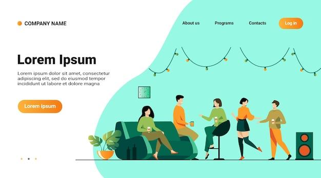 Plantilla de sitio web, página de destino con ilustración de amigos felices en la fiesta en casa, ilustración vectorial plana aislada