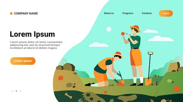 Plantilla de sitio web, página de destino con ilustración de arqueólogo descubriendo restos de dinosaurios