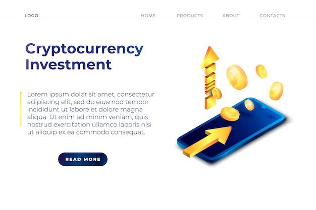 Plantilla de sitio web de página de destino de inversión en criptomoneda.